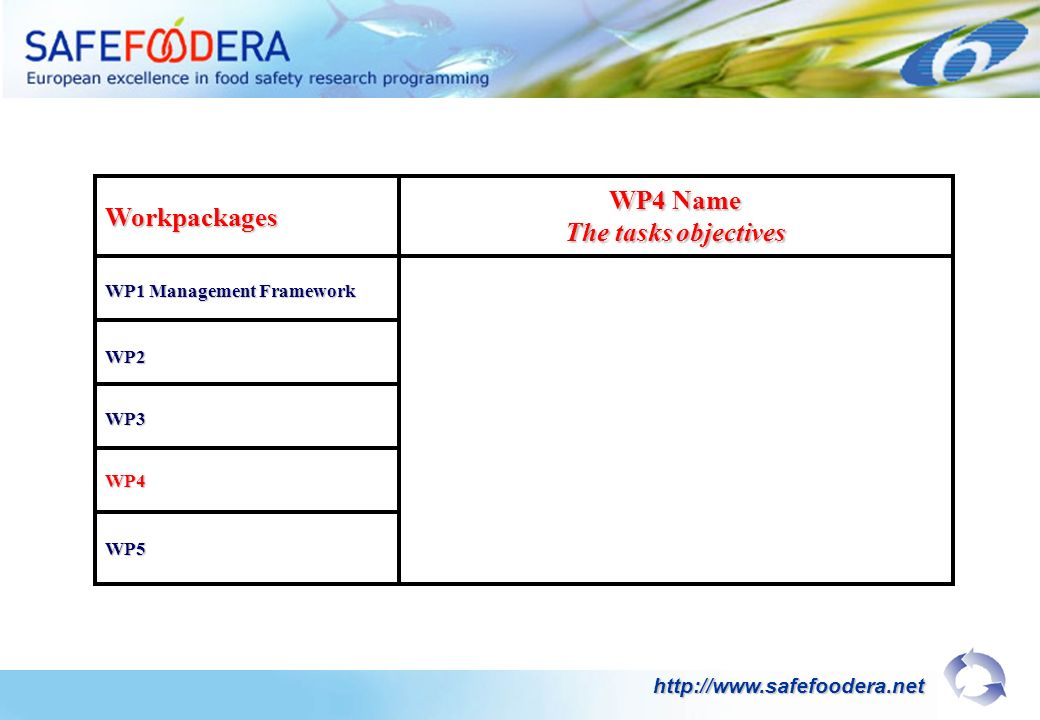 Workpackages WP1 Management Framework WP4 Name The tasks objectives WP2 WP3 WP4 WP5 http://www.safefoodera.net