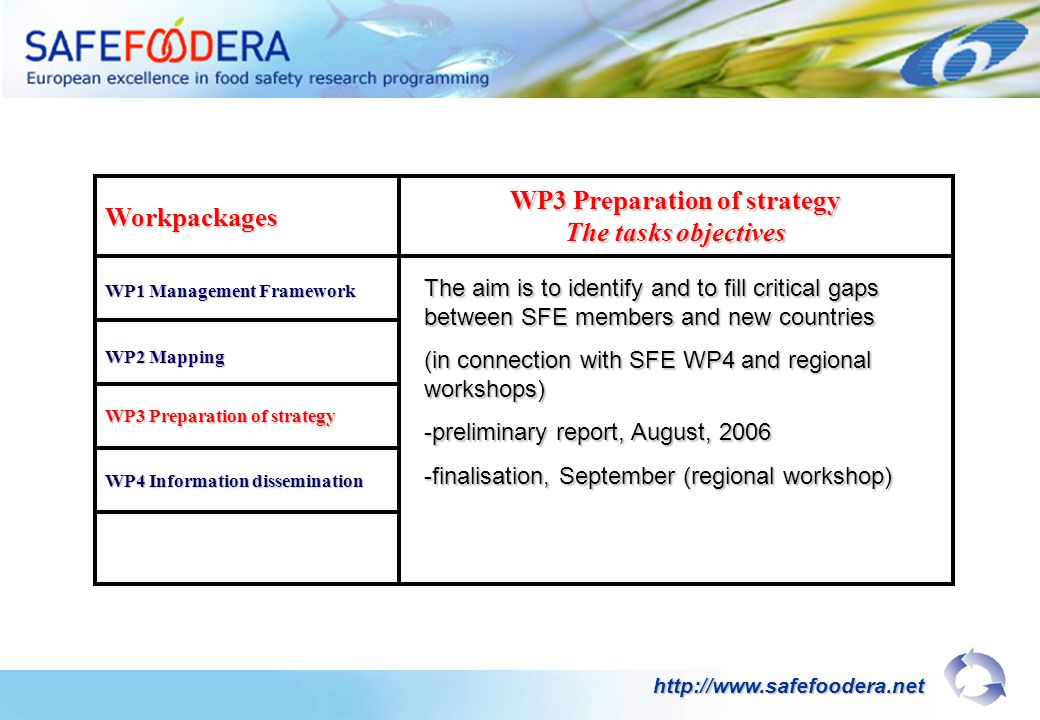 Workpackages WP1 Management Framework WP3 Preparation of strategy The tasks objectives WP2 Mapping WP3 Preparation of strategy WP4 Information dissemination The aim is to identify and to fill critical gaps between SFE members and new countries (in connection with SFE WP4 and regional workshops) -preliminary report, August, 2006 -finalisation, September (regional workshop) http://www.safefoodera.net