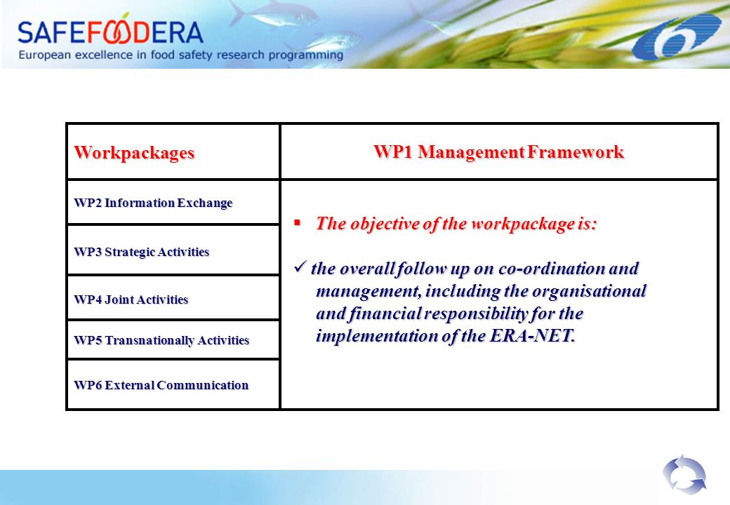 Workpackages WP1 Management Framework WP2 Information Exchange WP3 Strategic Activities WP4 Joint Activities WP5 Transnationally Activities The objective of the workpackage is: The objective of the workpackage is: the overall follow up on co-ordination and the overall follow up on co-ordination and management, including the organisational management, including the organisational and financial responsibility for the and financial responsibility for the implementation of the ERA-NET.