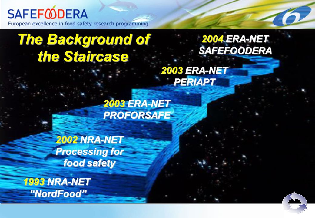 2003 ERA-NET PROFORSAFE 2002 NRA-NET Processing for food safety 1993 NRA-NET NordFood NordFood The Background of the Staircase 2003 ERA-NET PERIAPT 2004 ERA-NET SAFEFOODERA