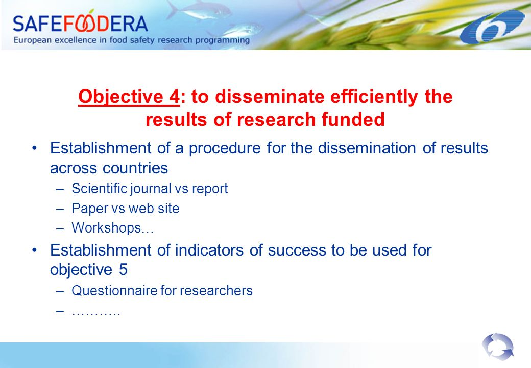 Objective 4: to disseminate efficiently the results of research funded Establishment of a procedure for the dissemination of results across countries –Scientific journal vs report –Paper vs web site –Workshops… Establishment of indicators of success to be used for objective 5 –Questionnaire for researchers –………..