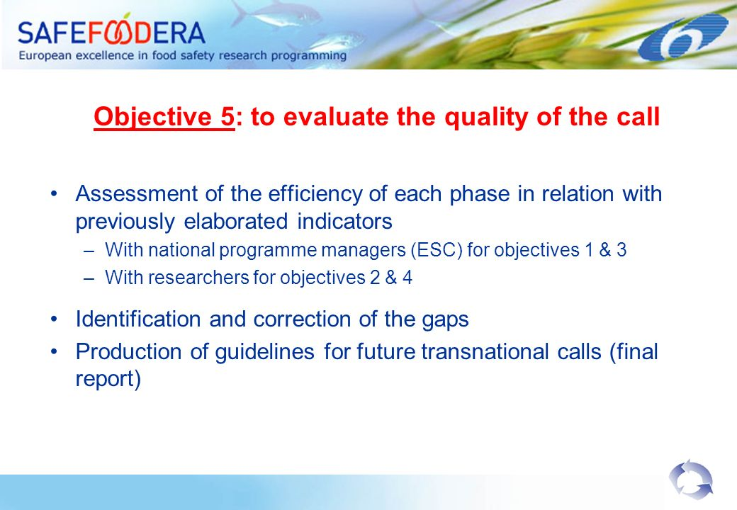 Objective 5: to evaluate the quality of the call Assessment of the efficiency of each phase in relation with previously elaborated indicators –With national programme managers (ESC) for objectives 1 & 3 –With researchers for objectives 2 & 4 Identification and correction of the gaps Production of guidelines for future transnational calls (final report)