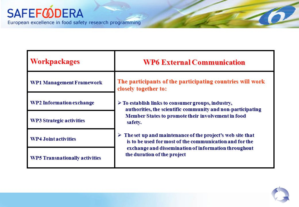 Workpackages WP1 Management Framework WP6 External Communication WP2 Information exchange WP3 Strategic activities WP4 Joint activities WP5 Transnationally activities The participants of the participating countries will work closely together to: To establish links to consumer groups, industry, To establish links to consumer groups, industry, authorities, the scientific community and non-participating authorities, the scientific community and non-participating Member States to promote their involvement in food Member States to promote their involvement in food safety.