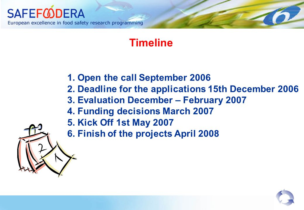 Timeline 1. Open the call September 2006 2. Deadline for the applications 15th December 2006 3. Evaluation December – February 2007 4. Funding decisio