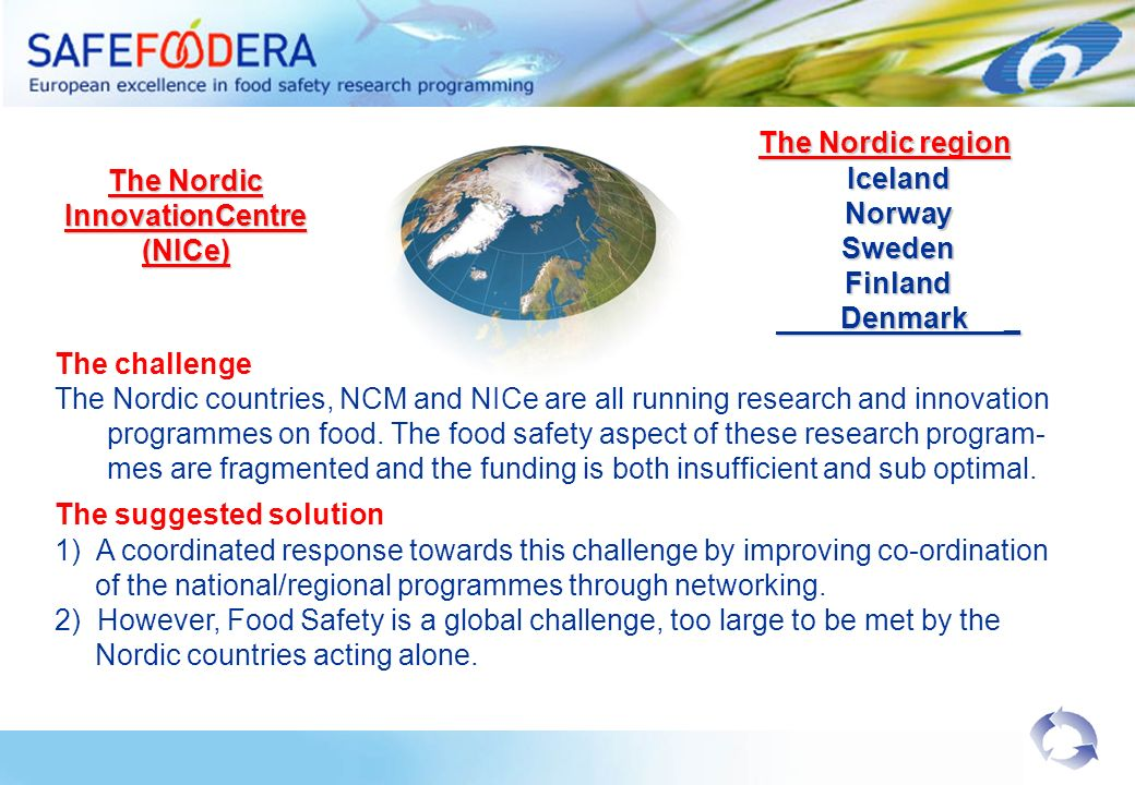 The Nordic InnovationCentre (NICe) The Nordic region The Nordic regionIcelandNorwaySwedenFinland Denmark _ Denmark _ The challenge The Nordic countries, NCM and NICe are all running research and innovation programmes on food.
