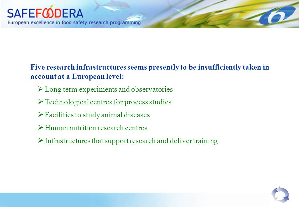 Five research infrastructures seems presently to be insufficiently taken in account at a European level: Long term experiments and observatories Technological centres for process studies Facilities to study animal diseases Human nutrition research centres Infrastructures that support research and deliver training