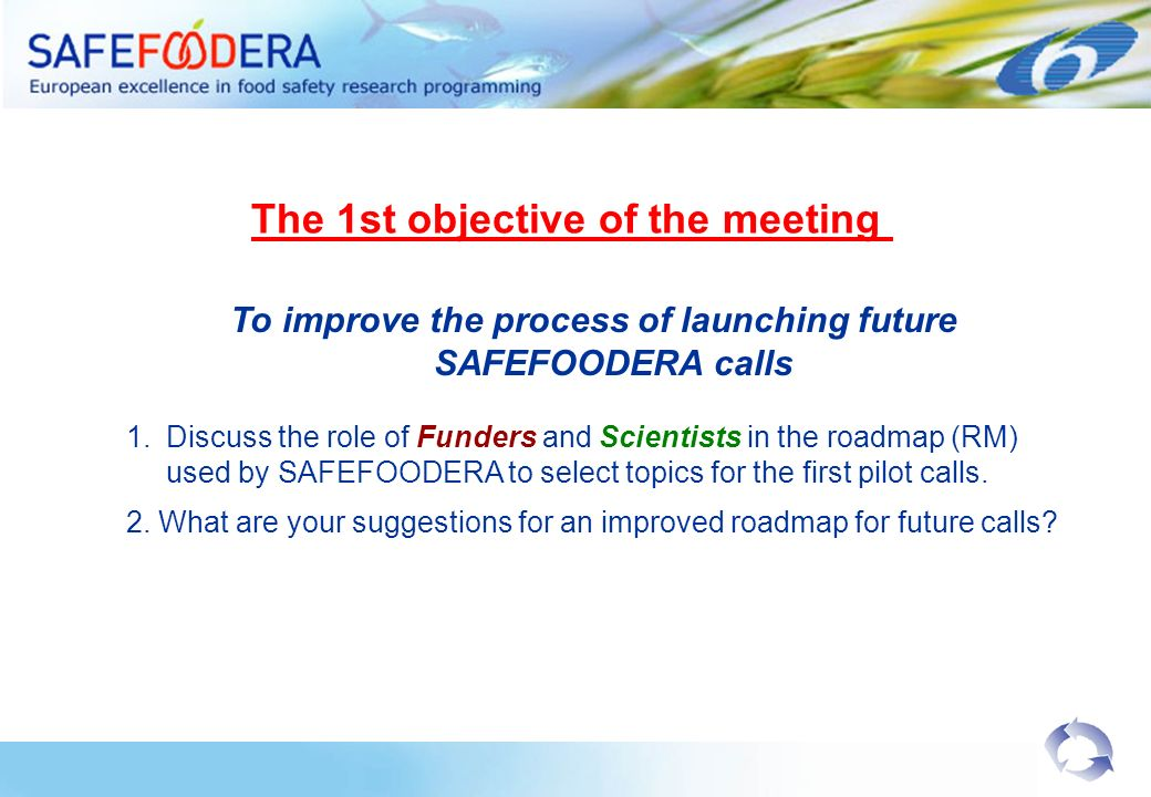 To improve the process of launching future SAFEFOODERA calls 1.Discuss the role of Funders and Scientists in the roadmap (RM) used by SAFEFOODERA to select topics for the first pilot calls.