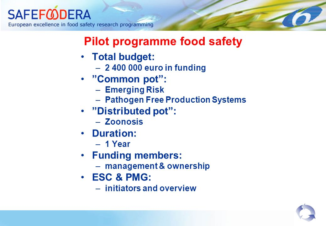 Pilot programme food safety Total budget: –2 400 000 euro in funding Common pot: –Emerging Risk –Pathogen Free Production Systems Distributed pot: –Zoonosis Duration: –1 Year Funding members: –management & ownership ESC & PMG: –initiators and overview