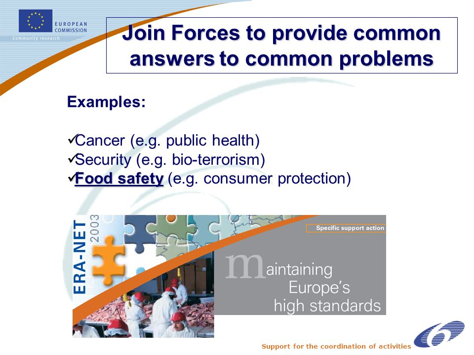 Support for the coordination of activities Join Forces to provide common answers to common problems Examples: Cancer (e.g. public health) Security (e.