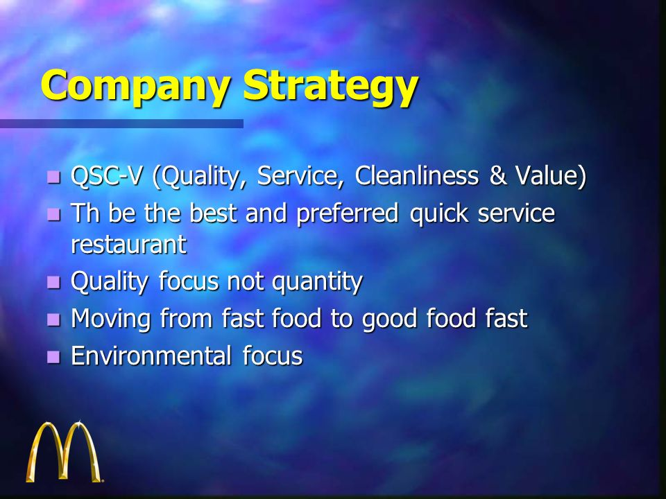 Company Strategy QSC-V (Quality, Service, Cleanliness & Value) QSC-V (Quality, Service, Cleanliness & Value) Th be the best and preferred quick servic