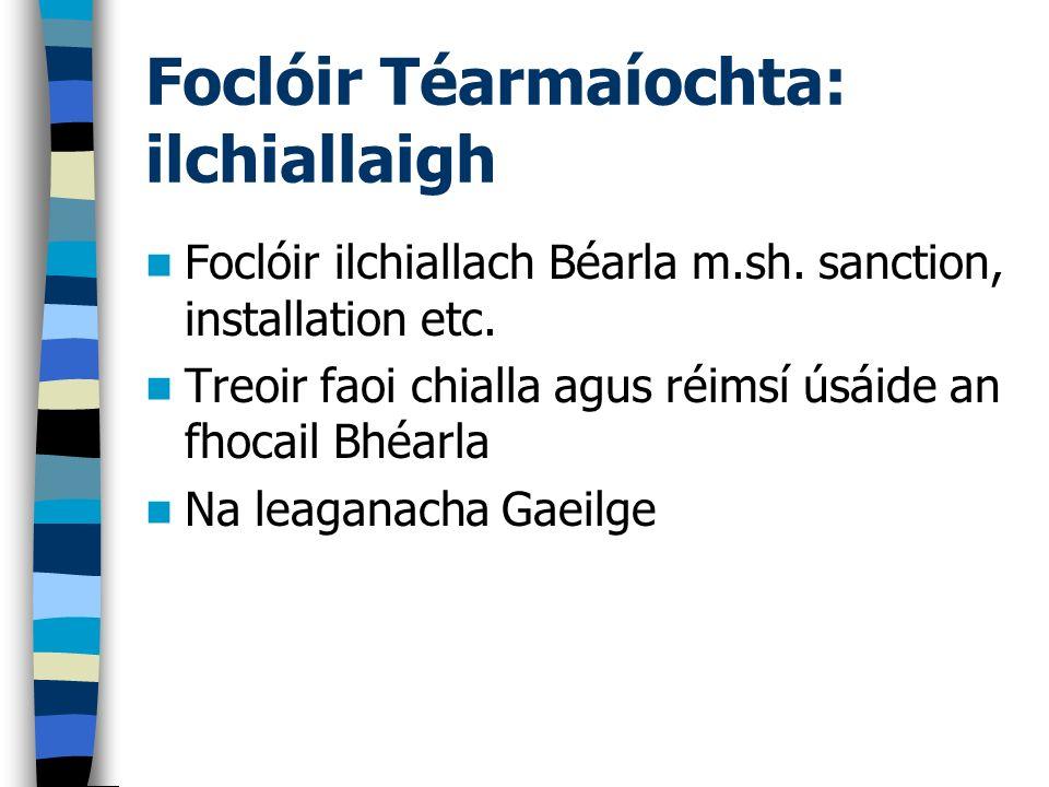 Foclóir Téarmaíochta: ilchiallaigh Foclóir ilchiallach Béarla m.sh. sanction, installation etc. Treoir faoi chialla agus réimsí úsáide an fhocail Bhéa