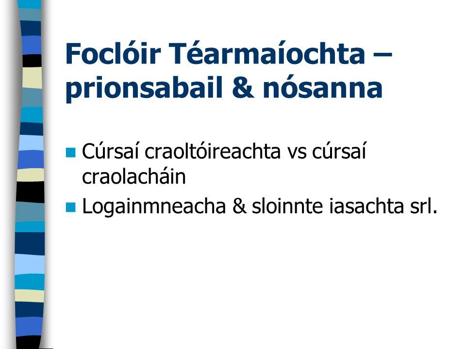 Foclóir Téarmaíochta – prionsabail & nósanna Cúrsaí craoltóireachta vs cúrsaí craolacháin Logainmneacha & sloinnte iasachta srl.
