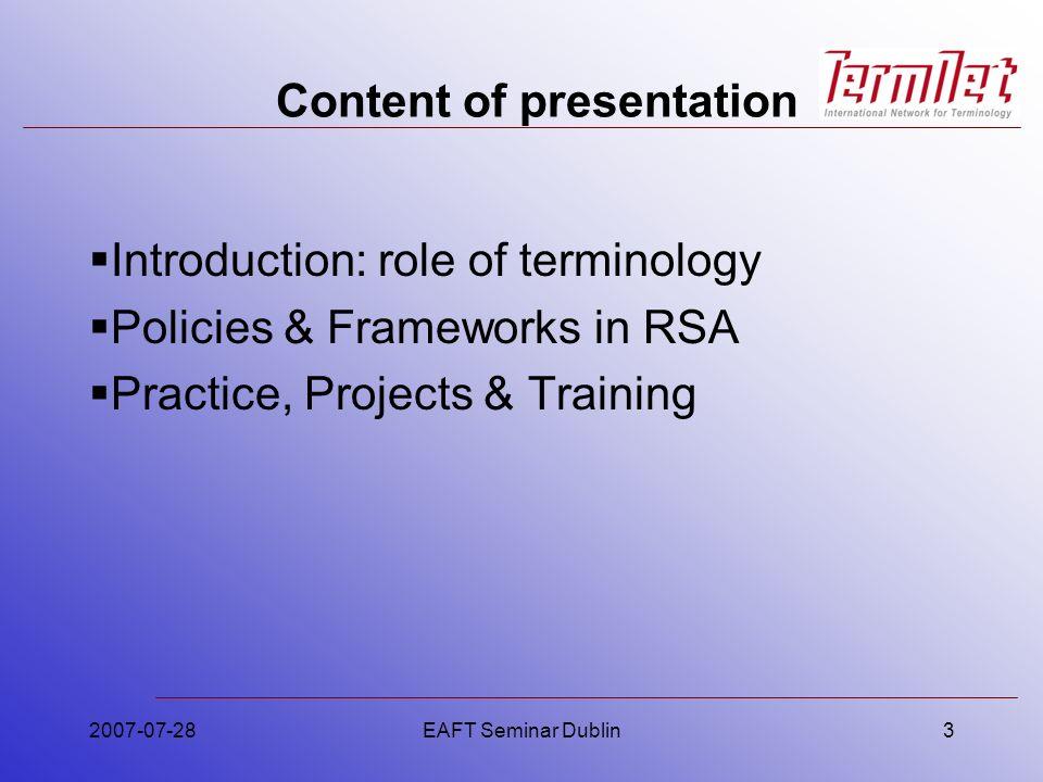2007-07-28EAFT Seminar Dublin54 What is TermTrain.