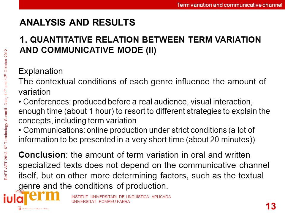Term variation and communicative channel EAFT-AET 2012.