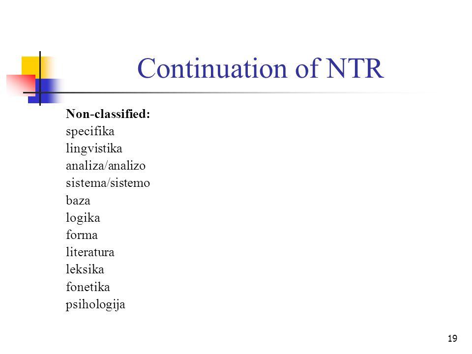 19 Continuation of NTR Non-classified: specifika lingvistika analiza/analizo sistema/sistemo baza logika forma literatura leksika fonetika psihologija