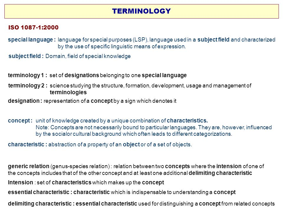 terminology 1 : set of designations belonging to one special language ISO 1087-1:2000 designation : representation of a concept by a sign which denote