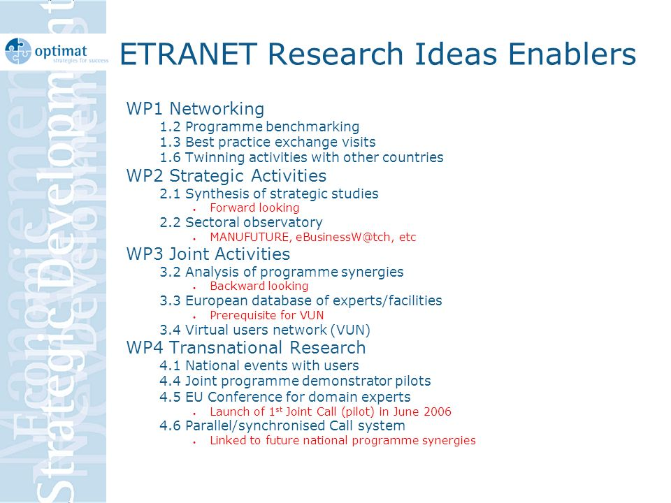 ETRANET Research Ideas Enablers WP1 Networking 1.2 Programme benchmarking 1.3 Best practice exchange visits 1.6 Twinning activities with other countries WP2 Strategic Activities 2.1 Synthesis of strategic studies Forward looking 2.2 Sectoral observatory MANUFUTURE, eBusinessW@tch, etc WP3 Joint Activities 3.2 Analysis of programme synergies Backward looking 3.3 European database of experts/facilities Prerequisite for VUN 3.4 Virtual users network (VUN) WP4 Transnational Research 4.1 National events with users 4.4 Joint programme demonstrator pilots 4.5 EU Conference for domain experts Launch of 1 st Joint Call (pilot) in June 2006 4.6 Parallel/synchronised Call system Linked to future national programme synergies