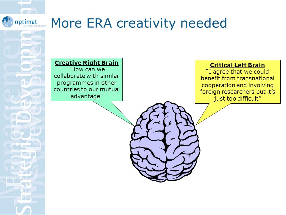 More ERA creativity needed Critical Left Brain I agree that we could benefit from transnational cooperation and involving foreign researchers but its just too difficult Creative Right Brain How can we collaborate with similar programmes in other countries to our mutual advantage