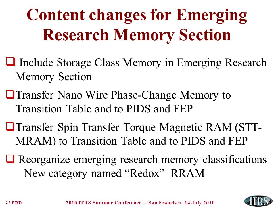 12 ERD 2010 ITRS Summer Conference – San Francisco 14 July 2010 12 Content changes for Emerging Research Memory Section Include Storage Class Memory i