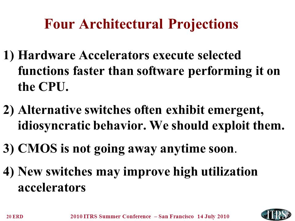 20 ERD 2010 ITRS Summer Conference – San Francisco 14 July 2010 Four Architectural Projections 1)Hardware Accelerators execute selected functions fast