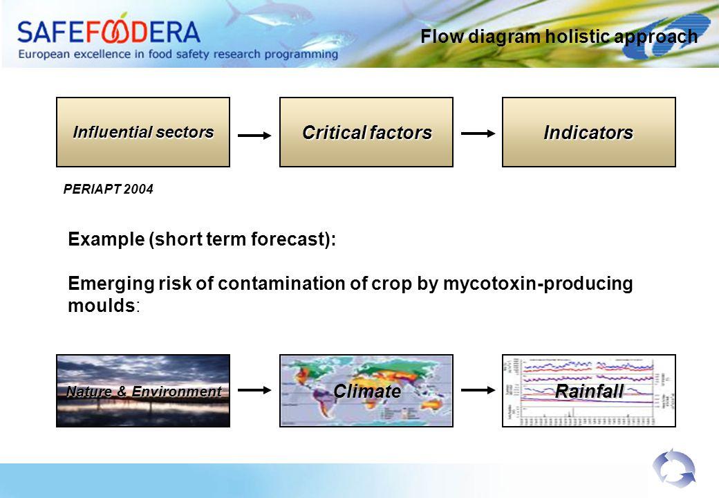 Flow diagram holistic approach Example (short term forecast): Emerging risk of contamination of crop by mycotoxin-producing moulds: PERIAPT 2004 Influentialsectors Influential sectors Criticalfactors Critical factorsIndicators Nature & Environment ClimateRainfall