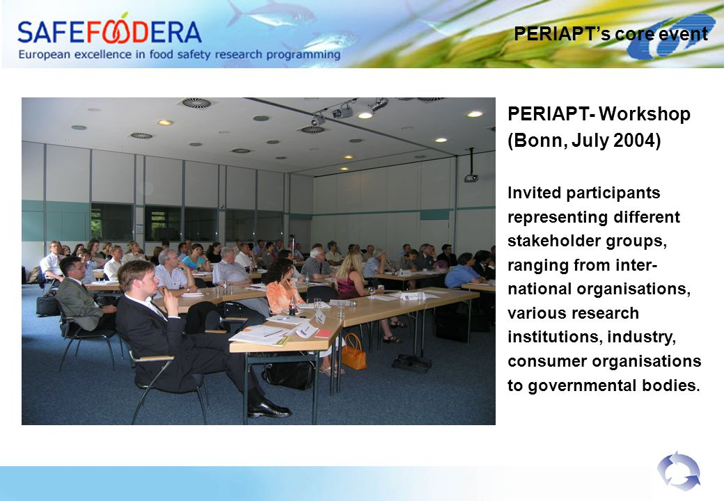 PERIAPT- Workshop (Bonn, July 2004) Invited participants representing different stakeholder groups, ranging from inter- national organisations, various research institutions, industry, consumer organisations to governmental bodies.