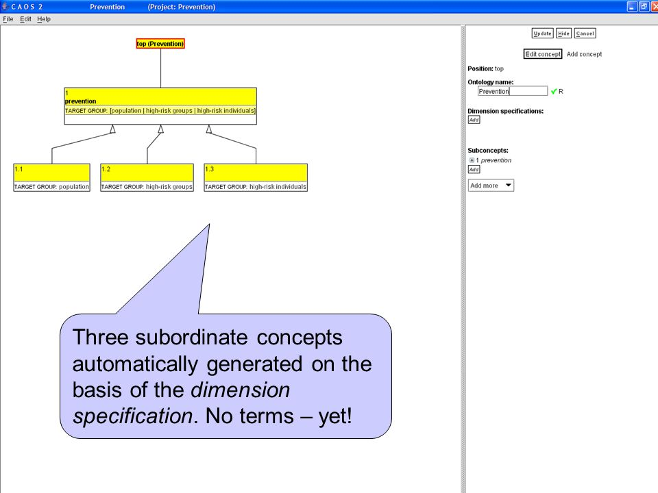 Three subordinate concepts automatically generated on the basis of the dimension specification. No terms – yet!