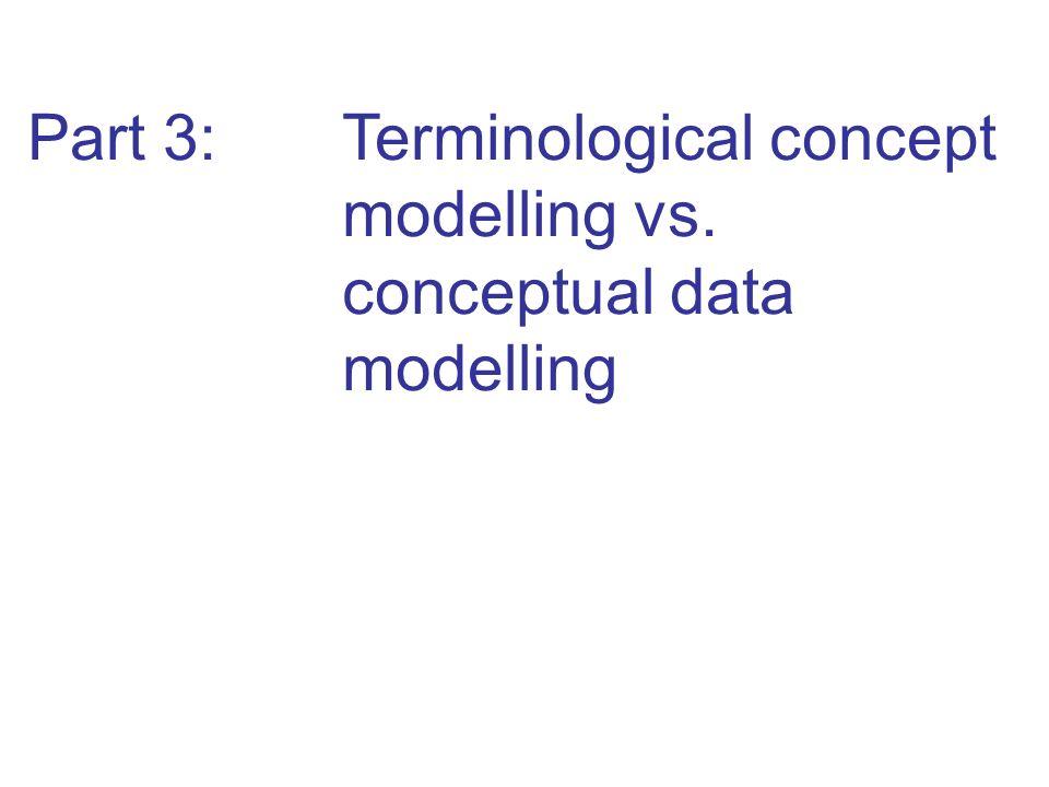 Part 3: Terminological concept modelling vs. conceptual data modelling