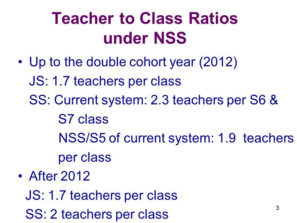 3 Teacher to Class Ratios under NSS Up to the double cohort year (2012) JS: 1.7 teachers per class SS: Current system: 2.3 teachers per S6 & S7 class