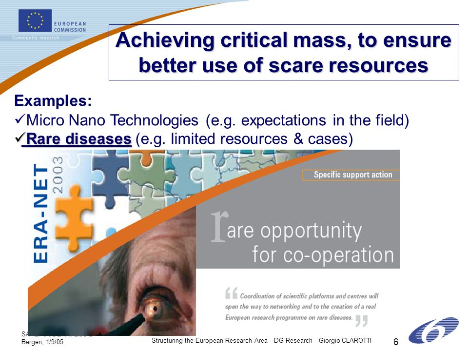 SAFEFOODERA, ESC 2 Bergen, 1/9/05 Structuring the European Research Area - DG Research - Giorgio CLAROTTI 6 Achieving critical mass, to ensure better use of scare resources Examples: Micro Nano Technologies (e.g.