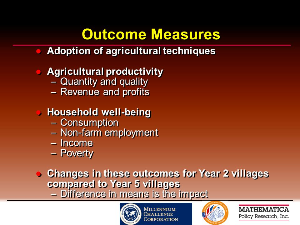 Outcome Measures Adoption of agricultural techniques Agricultural productivity –Quantity and quality –Revenue and profits Household well-being –Consumption –Non-farm employment –Income –Poverty Changes in these outcomes for Year 2 villages compared to Year 5 villages –Difference in means is the impact Adoption of agricultural techniques Agricultural productivity –Quantity and quality –Revenue and profits Household well-being –Consumption –Non-farm employment –Income –Poverty Changes in these outcomes for Year 2 villages compared to Year 5 villages –Difference in means is the impact
