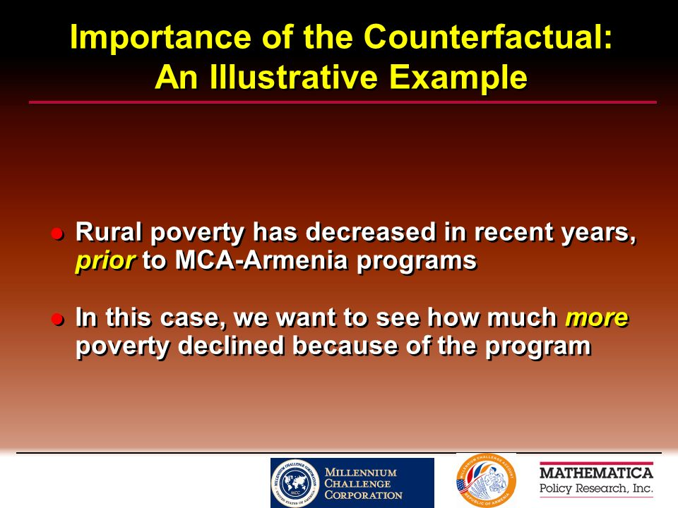 Importance of the Counterfactual: An Illustrative Example Rural poverty has decreased in recent years, prior to MCA-Armenia programs In this case, we want to see how much more poverty declined because of the program Rural poverty has decreased in recent years, prior to MCA-Armenia programs In this case, we want to see how much more poverty declined because of the program