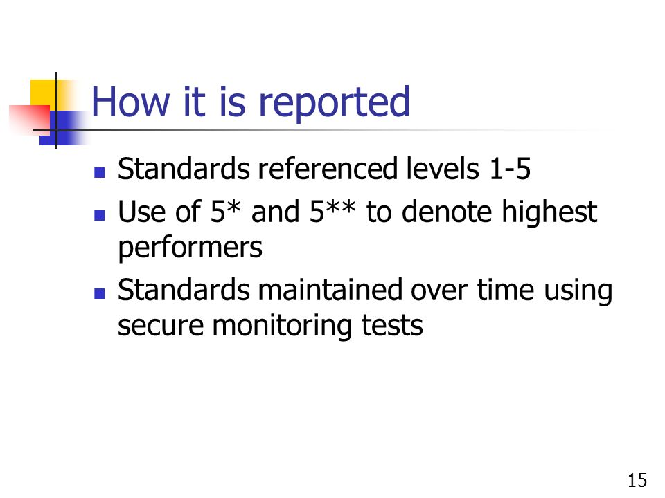 15 How it is reported Standards referenced levels 1-5 Use of 5* and 5** to denote highest performers Standards maintained over time using secure monit