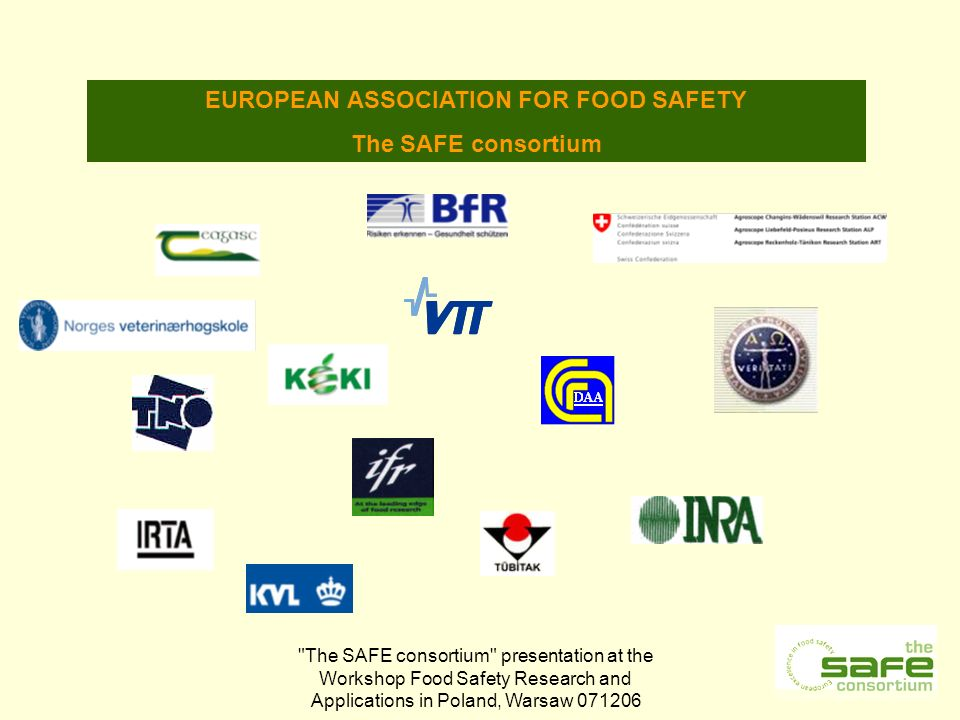 The SAFE consortium presentation at the Workshop Food Safety Research and Applications in Poland, Warsaw EUROPEAN ASSOCIATION FOR FOOD SAFETY The SAFE consortium