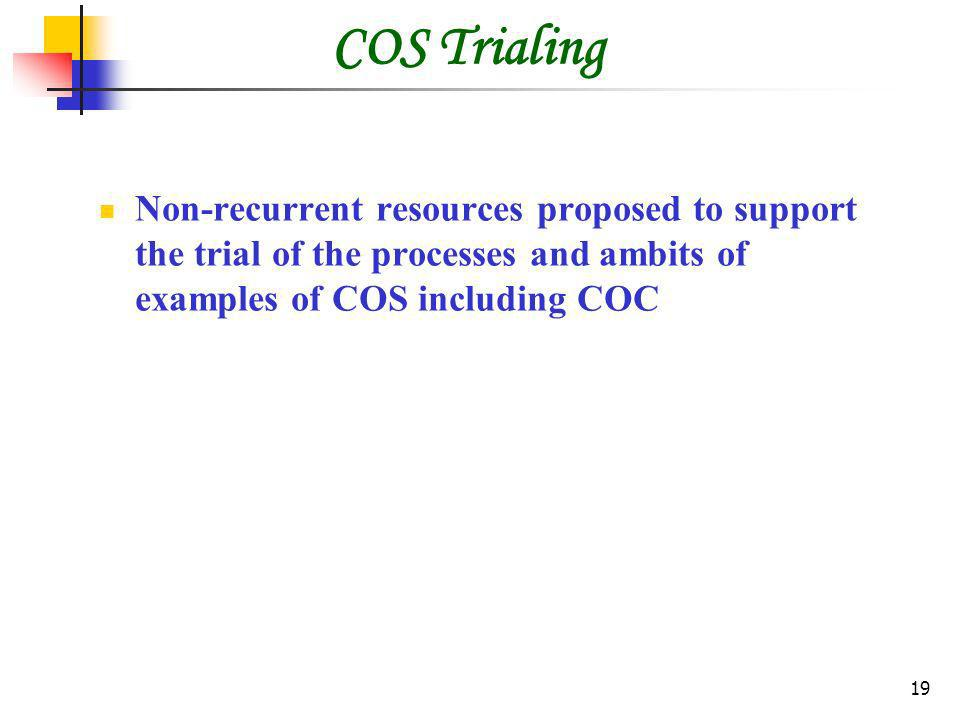 19 COS Trialing Non-recurrent resources proposed to support the trial of the processes and ambits of examples of COS including COC