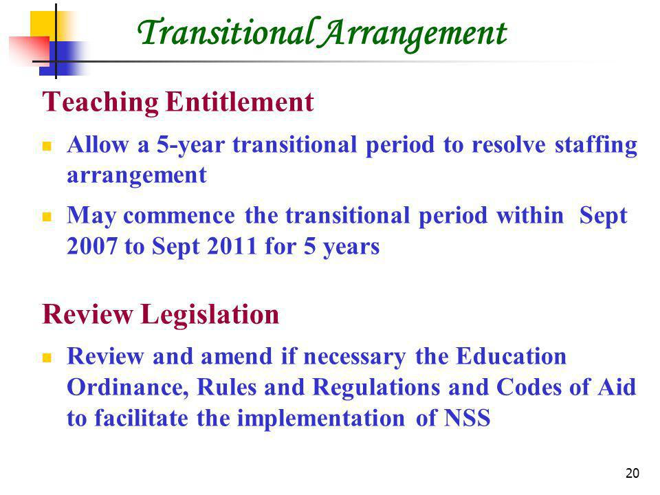20 Transitional Arrangement Teaching Entitlement Allow a 5-year transitional period to resolve staffing arrangement May commence the transitional period within Sept 2007 to Sept 2011 for 5 years Review Legislation Review and amend if necessary the Education Ordinance, Rules and Regulations and Codes of Aid to facilitate the implementation of NSS