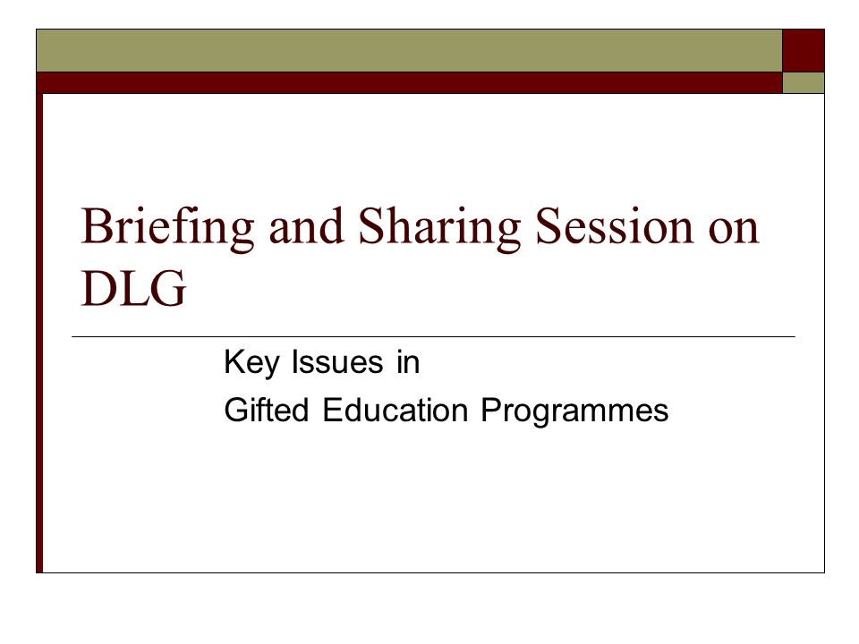Briefing and Sharing Session on DLG Key Issues in Gifted Education Programmes