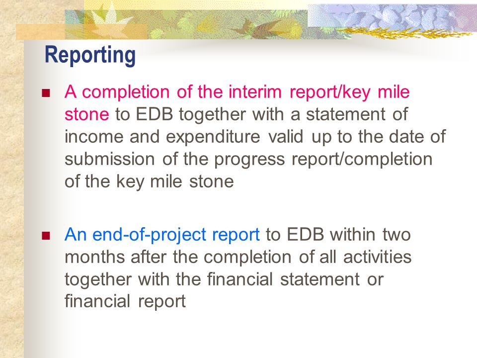 Reporting A completion of the interim report/key mile stone to EDB together with a statement of income and expenditure valid up to the date of submiss