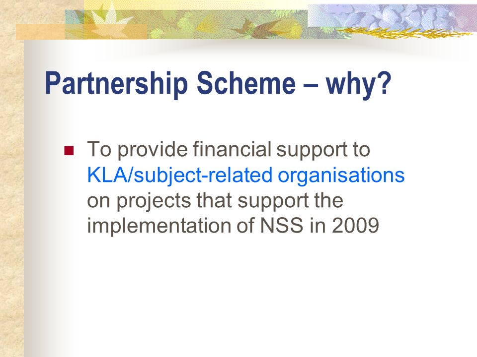 Partnership Scheme – why? To provide financial support to KLA/subject-related organisations on projects that support the implementation of NSS in 2009