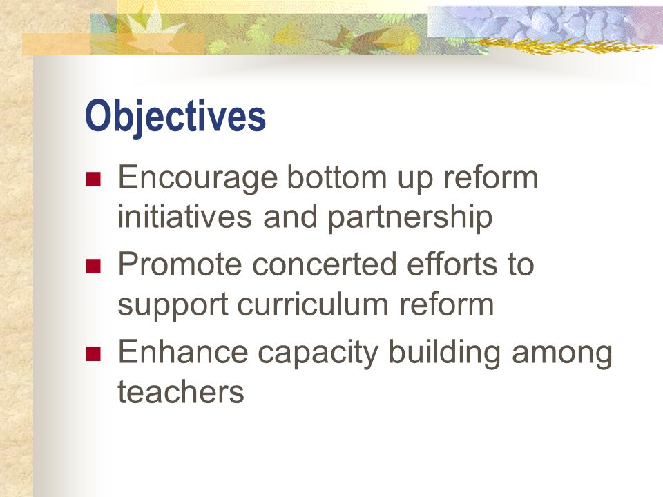 Objectives Encourage bottom up reform initiatives and partnership Promote concerted efforts to support curriculum reform Enhance capacity building amo