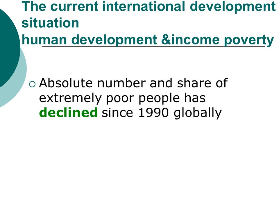 The current international development situation human development &income poverty Absolute number and share of extremely poor people has declined since 1990 globally