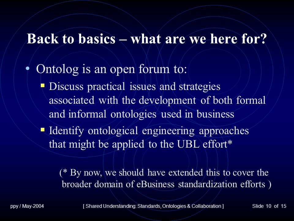 ppy / May-2004[ Shared Understanding: Standards, Ontologies & Collaboration ]Slide 10 of 15 Back to basics – what are we here for.