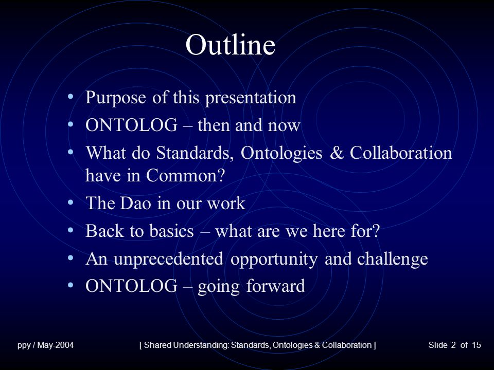ppy / May-2004[ Shared Understanding: Standards, Ontologies & Collaboration ]Slide 2 of 15 Outline Purpose of this presentation ONTOLOG – then and now What do Standards, Ontologies & Collaboration have in Common.
