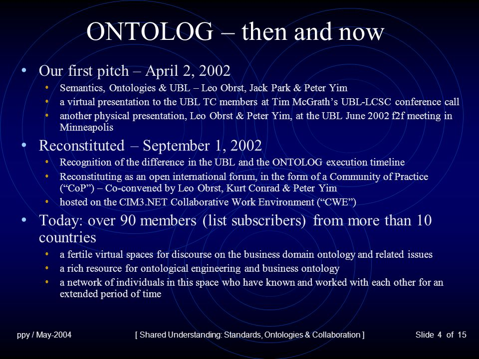 ppy / May-2004[ Shared Understanding: Standards, Ontologies & Collaboration ]Slide 5 of 15 What do Standards, Ontologies & Collaboration have in Common.