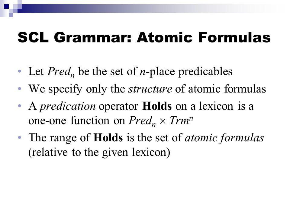 SCL Grammar: Atomic Formulas Let Pred n be the set of n-place predicables We specify only the structure of atomic formulas A predication operator Holds on a lexicon is a one-one function on Pred n Trm n The range of Holds is the set of atomic formulas (relative to the given lexicon)