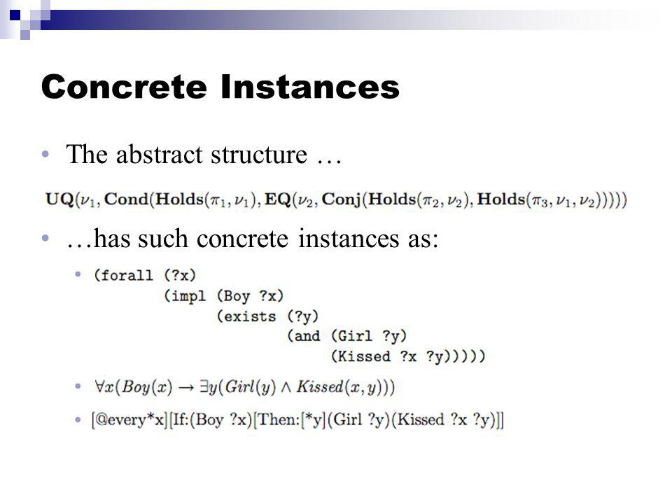 Concrete Instances The abstract structure … …has such concrete instances as: