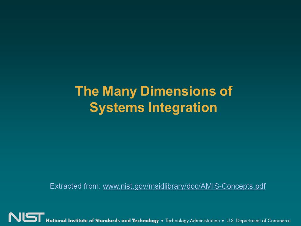 The Many Dimensions of Systems Integration Extracted from: www.nist.gov/msidlibrary/doc/AMIS-Concepts.pdfwww.nist.gov/msidlibrary/doc/AMIS-Concepts.pdf