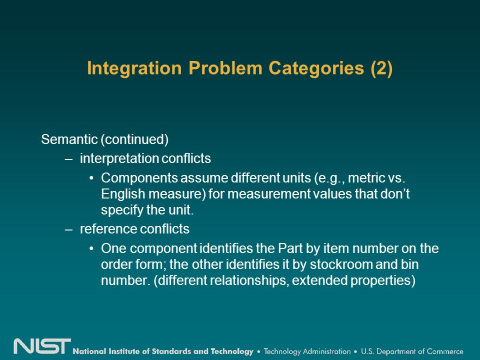 Integration Problem Categories (2) Semantic (continued) –interpretation conflicts Components assume different units (e.g., metric vs.