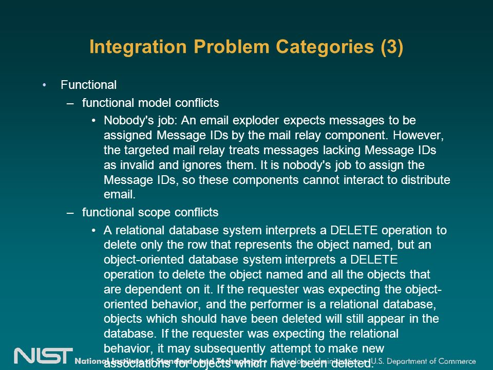 Integration Problem Categories (3) Functional –functional model conflicts Nobody s job: An email exploder expects messages to be assigned Message IDs by the mail relay component.