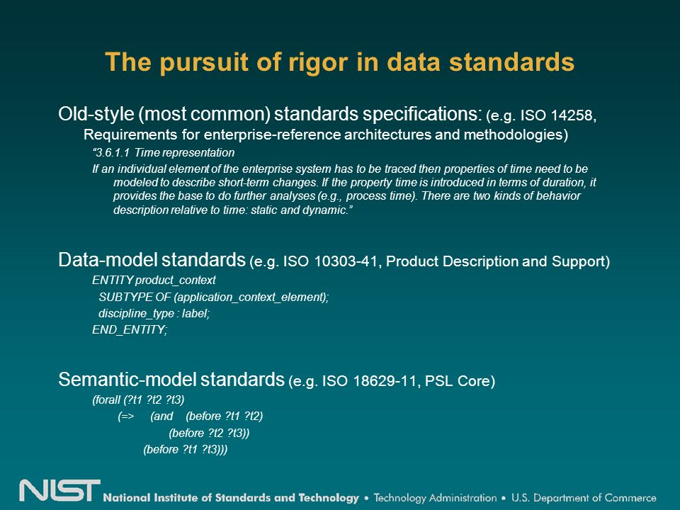 The pursuit of rigor in data standards Old-style (most common) standards specifications: (e.g.